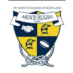"a blue and yellow crest with a seahawk and the team name, ""Men's Rugby"""