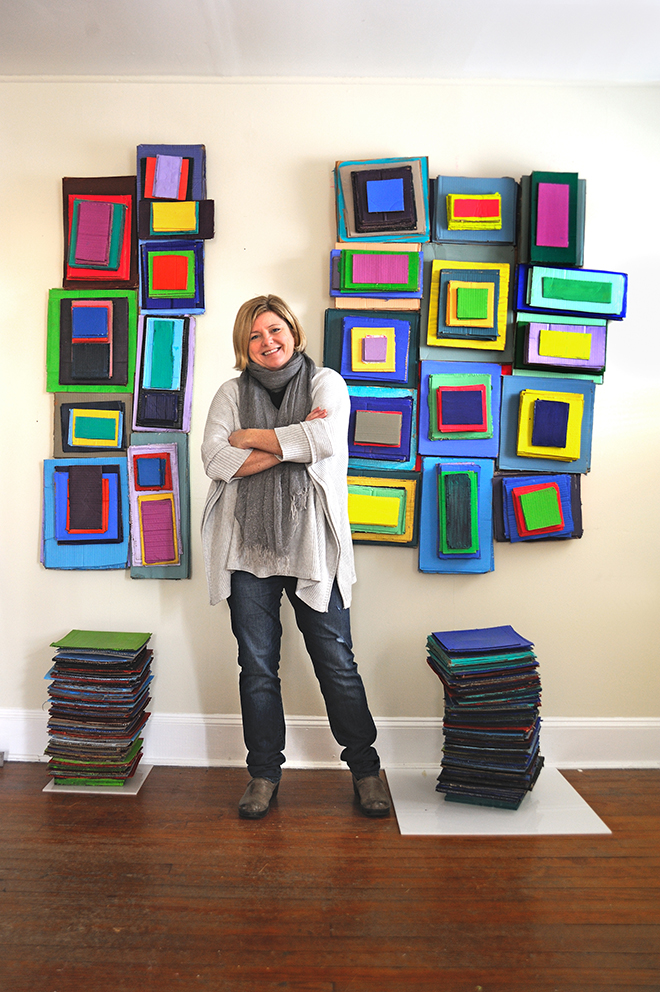 Carrie Patterson at an exhibition of her work