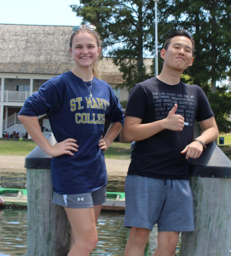 Two students shown on the docks at St. Mary's College.