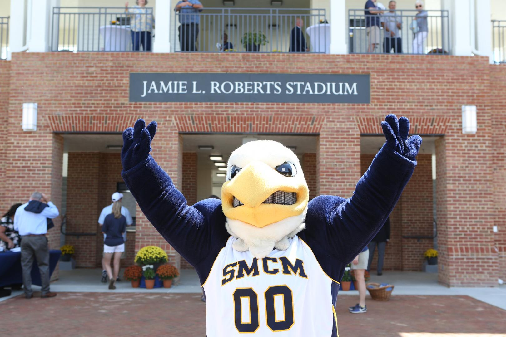 mascot Solomon the Seahawk pictured in front of the Jamie L. Roberts Stadium