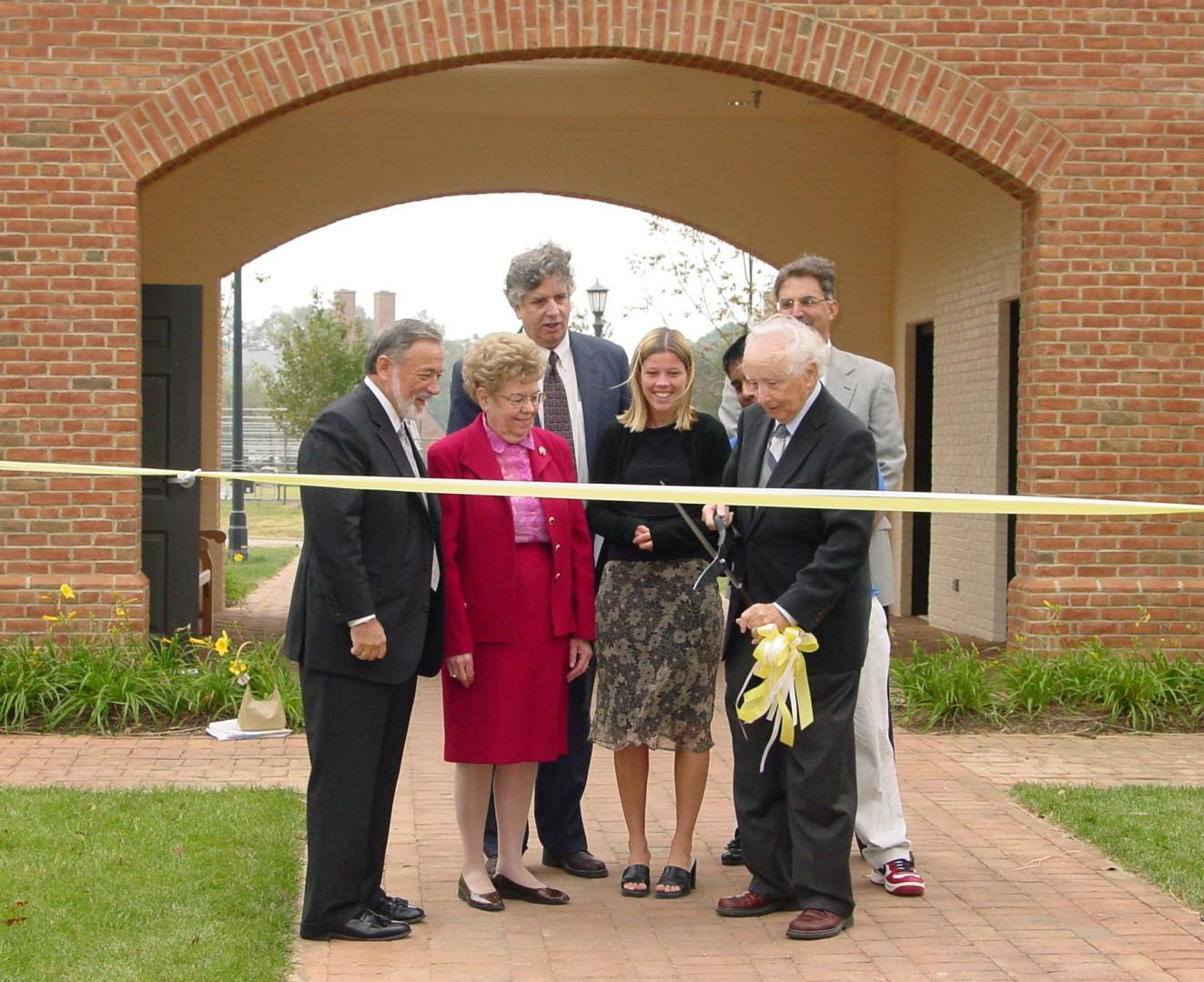 Photo of Waring at the ribbon cutting for the Waring Commons from 2003