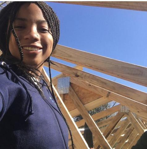 Jasmine Long at Habitat for Humanity site