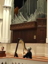 Adjunct Harp Instructor Rebecca Anstine Smith performing