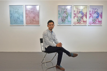 Tristan Cai in exhibit space pictured