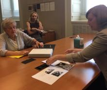 Paskow reviewing father's letters at the Veterans History Project at the Library of Congress