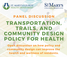 PANEL DISCUSSI O N TRANSPORTATION, TRAILS, AND COMMUNITY DESIGN POLICY FOR HEALTH Open discussion on how policy and community design can improve the health and wellness of residents - flyer wording