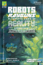"""Robots, Rayguns, and Alternate Views of Reality: Experiencing Art Through the Sci-Fi Paperback Collection in the SMCM Archives"" exhibition invite and artwork"