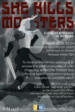 "Poster for ""She Kills Monsters: Virtual Realms"" with zoom information and image of a woman warrior"