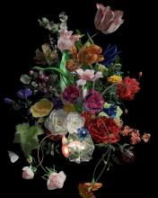 Image of artwork featuring colorful, hyperreal flower arrangement.