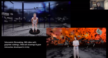 mage: Screenshot from Showcase presenter Elizabeth Leister showing stills from her experimental virtual reality work, All Her Bodies (in progress).