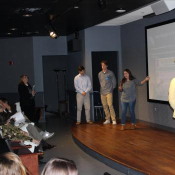 "students present to judges ""Shark Tank"" style"