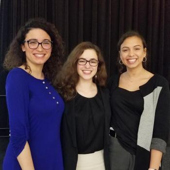 Justyce Bennett '19, Lindsay Wooleyhand '19, and Emma Hugonnet pictured