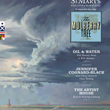 Cover of the spring issue of Mulberry Tree featuring painting by Will Hemsley of stormy sky over marina