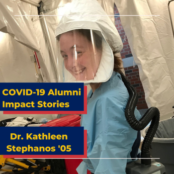 Dr. Kathleen Stephanos in protective gear